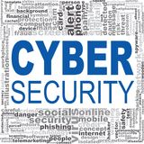 Cyber security word cloud. Creative illustration of idea word lettering typography . 3D rendering Stock Images