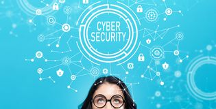 Cyber security with young woman Stock Image