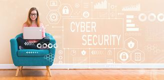 Cyber Security with young woman using laptop Royalty Free Stock Image