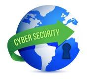 Cyber-Sicherheits-Pfeil mit Verriegelung auf The Globe Lizenzfreie Stockfotos