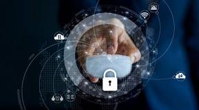 Cyber sieci przesyłania danych i ochrony ochrony prywatność Fotografia Stock