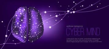 Cyber-Sinneskonzept mit Big Data-Sichtbarmachung vektor abbildung