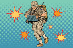 Cyber soldier with a computer Royalty Free Stock Images