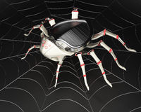 Cyber spider in the metal spiderweb Stock Photography