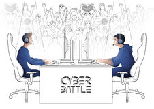 Cyber sport design. Two computer players sitting at the table opposite each other with a crowd of cheering fans on the background. Side view. Coloring book page Stock Photos
