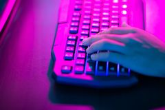 Cyber sport gamer press keyboard stock photo