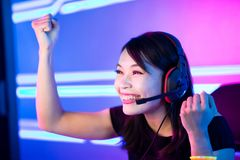 Cyber sport gamer win game stock photos