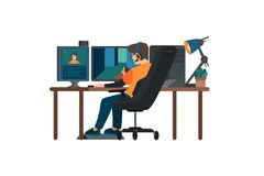 Free Cyber Sport Pro Gamer Live Streaming Game Match Sitting At Professional Studio With Pc Desk Setup, Gaming Chair, Mic, Spotlights Stock Photos - 180719103