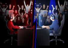 Cyber sport team. Two game players sitting at the table opposite each other with a crowd of cheering fans on the background. Side view. Vector participants of Stock Photos