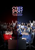 Cyber sport teams in red and blue colors. Two teams of five players sitting at the table opposite each other with a crowd of cheering fans on the background Royalty Free Stock Image