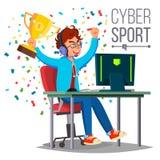 Cyber sporta gracza wektor gry komputerowej grać Fachowy gamer eventide rywalizacja Gemowy strateg Dalej ilustracji