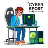 Cyber sporta gracza wektor Uczestnik Cyber sporta turniej eventide Esport wydarzenia plakata pojęcie mieszkanie ilustracja wektor