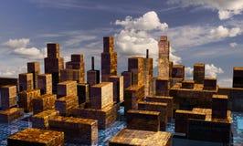Cyber-Stadtpanorama Lizenzfreie Stockfotografie