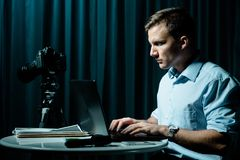 Cyber stalker persecuting his victim Royalty Free Stock Image