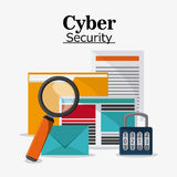 Cyber and System Security icon. File padlock document envelope lupe cyber security system protection icon Vector illustration Royalty Free Stock Photo