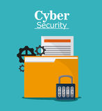 Cyber and System Security icon. File padlock gears document cyber security system protection icon Vector illustration Stock Photography