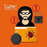 Cyber and System Security icon. Hacker thief file bomb bug padlock cyber security system protection icon Vector illustration Stock Image