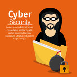 Cyber and System Security icon. Hacker thief file bomb padlock cyber security system protection icon Vector illustration Stock Images