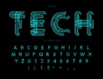 Free Cyber Tech Font. Contour Scheme Style Vector Alphabet. Letters And Numbers For Digital Product, Security System Logo Royalty Free Stock Images - 148645459