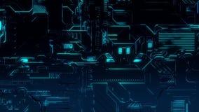 Cyber techniki Cyfrowego tło BlueGreen - Frontowy widok -
