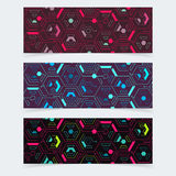 Cyber techno banners. Vector isometric cyber techno banners design templates royalty free illustration