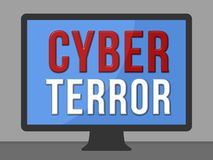 Cyber Terror. Warning - screen illustration Stock Images