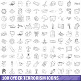100 cyber terrorism icons set, outline style. 100 cyber terrorism icons set in outline style for any design vector illustration Stock Image