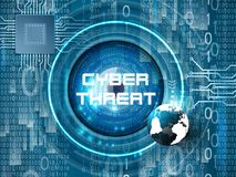 Cyber threat theme abstract background. Abatract background cyber security theme.Including binary code, futuristic eye, earth globe and glowing elements.Used a Stock Photos