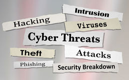 Cyber Threats Attacks Hacking Newspaper Headlines 3d Illustratio. N Stock Photo