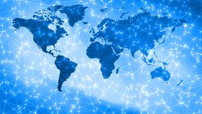 Cyber threats digital world security, connecting dots and lines on world map. Connected dots with lines and graphic world map, creative abstract background stock photo