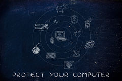 Cyber threats symbols, protect your computer Royalty Free Stock Images