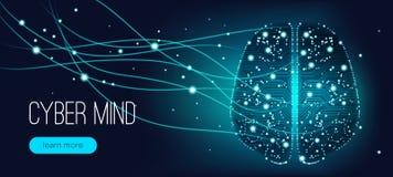 Cyber umysłu pojęcie, Sztuczna inteligencja ilustracja wektor