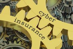 Cyber-Versicherungskonzept auf den Zahnrädern, Wiedergabe 3D Stockfotos