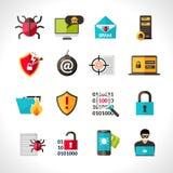 Cyber Virus Icons Set Stock Photography