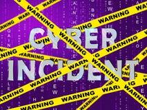 Cyber-Vorfall-Daten-Angriffs-Alarm-2d Illustration stock abbildung
