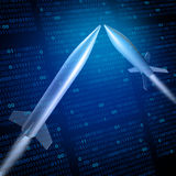 Cyber War. Or cyberwarfare military defense technology concept as missiles attacking with binary code background as a 3D illustration Stock Images