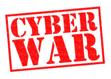 CYBER WAR. Red Rubber Stamp over a white background Stock Image