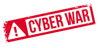 Cyber War rubber stamp Royalty Free Stock Images