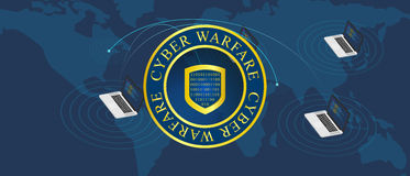 Cyber war warfare. Map interconnected encryption Royalty Free Stock Photography