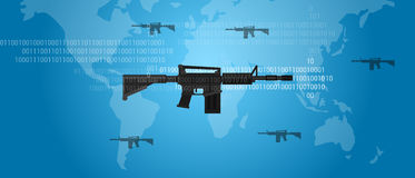 Cyber warfare concept gun digital code world wide military assault firearm Stock Images