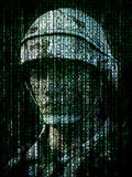 Cyber warfare concept. Military soldier embedded into computer internet symbol binary code. royalty free illustration