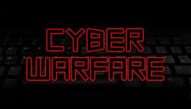Cyber Warfare text over black keyboard illustration Stock Images