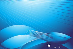 Cyber waves concept with shining stars in blue Royalty Free Stock Photo