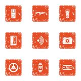 Cyber weapon icons set, grunge style. Cyber weapon icons set. Grunge set of 9 cyber weapon vector icons for web isolated on white background Stock Image