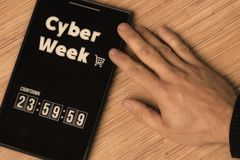 Cyber Week. Countdown stock image