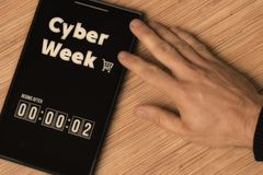 Cyber Week. Begins after stock photography