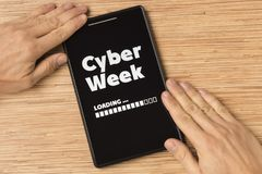 Cyber Week. Loading mobile app concept stock images
