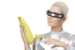 Cyber woman Stock Photo