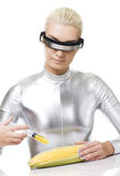 Cyber woman Stock Image