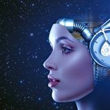 Cyber woman royalty free stock photo